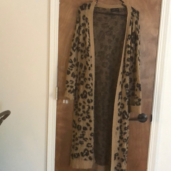 Mustard Seed Sweaters - Leopard Print Duster Length Cardigan